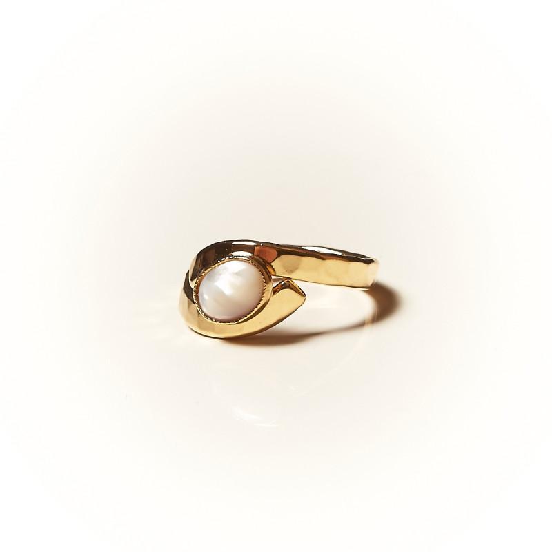Bague plaqué or Nacre Emulsia, bijoux de créateur, vente en ligne, bijouterie