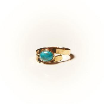 Bague plaqué or Turquoise Emulsia, bijoux de créateur, vente en ligne, bijouterie
