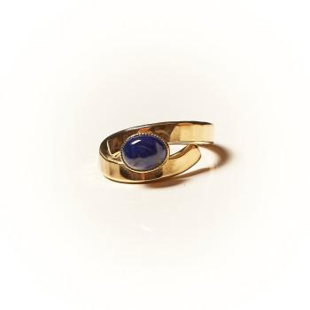 Bague plaqué or Lapis lazuli Emulsia, bijoux de créateur, vente en ligne, bijouterie