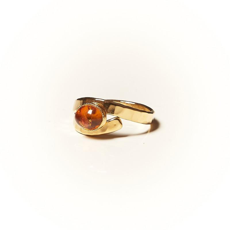 Bague plaqué or Ambre Emulsia, bijoux de créateur, vente en ligne, bijouterie