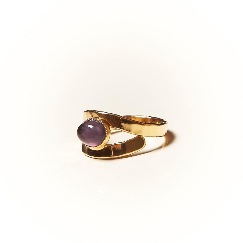 Bague plaqué or Améthyste Emulsia, bijoux de créateur, vente en ligne,  bijouterie