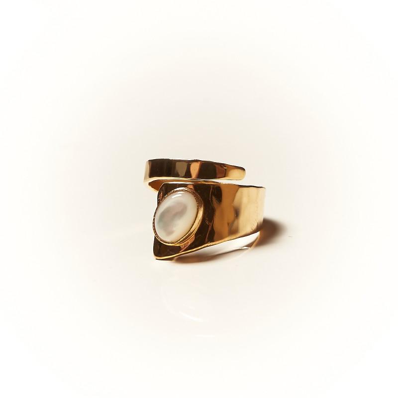 Bague plaqué or Nacre Romae, bijoux de créateur, vente en ligne, bijouterie