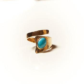 Bague plaqué or turquoise Romae, bijoux de créateur, vente en ligne, bijouterie