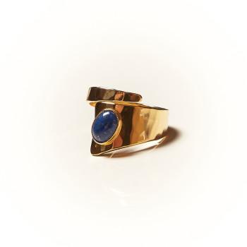 Bague plaqué or Lapis lazuli Romae, bijoux de créateur, vente en ligne, bijouterie