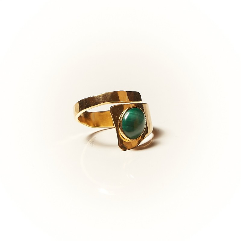 Bague plaqué or Malachite Romae, bijoux de créateur, vente en ligne, bijouterie