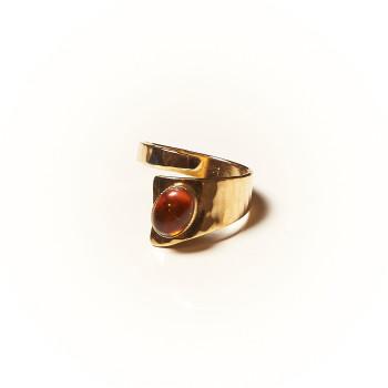 Bague plaqué or Ambre, bijoux de créateur, vente en ligne, bijouterie