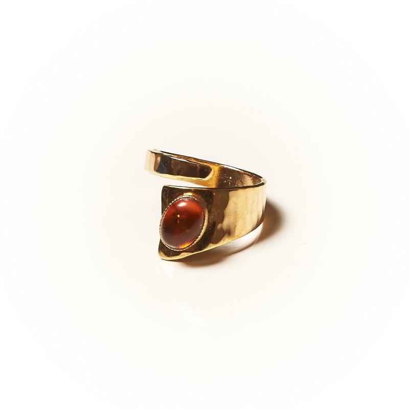 Bague plaqué or Ambre Romae, bijoux de créateur, vente en ligne, bijouterie