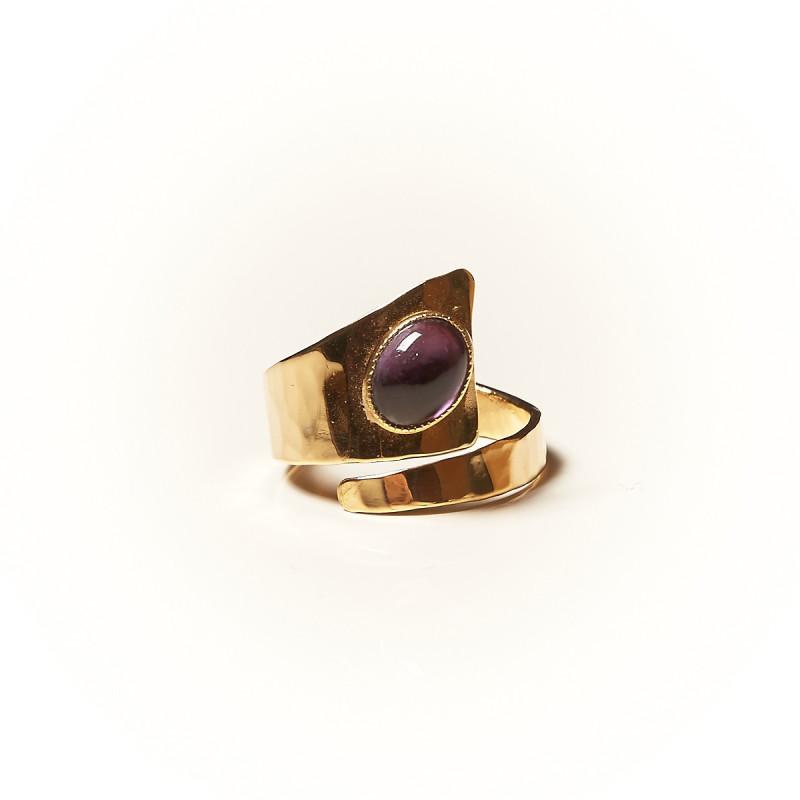 Bague plaqué or améthyste Romae, bijoux de créateur, vente en ligne, bijouterie