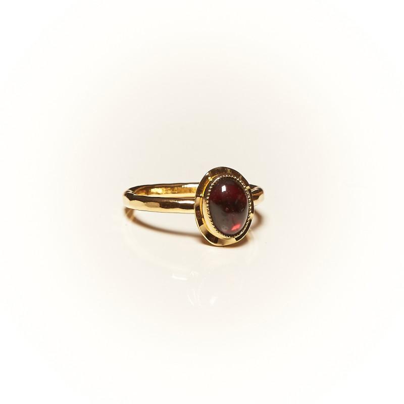 Bague plaqué or Grenat Classica, bijoux de créateur, vente en ligne, bijouterie