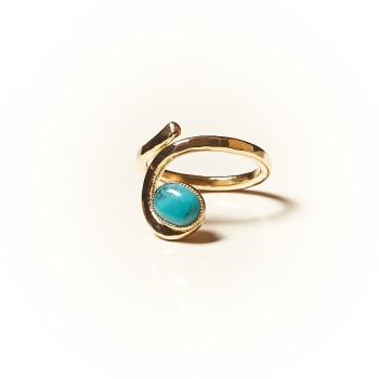 Bague plaqué or Turquoise Perce neige, bijoux de créateur, vente en ligne, bijouterie