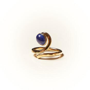Bague plaqué or Lapis lazuli Perce neige, bijoux de créateur, vente en ligne, bijouterie
