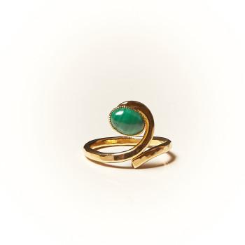Bague plaqué or Malachite, bijoux de créateur, vente en ligne, bijouterie