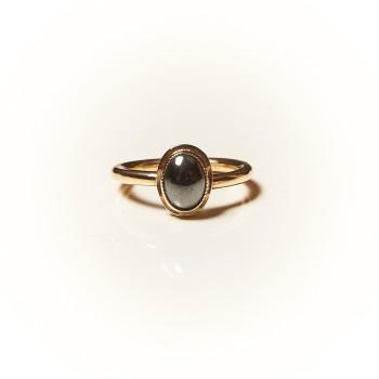 Bague plaqué or Hématite Classica, bijoux de créateur, vente en ligne, bijouterie