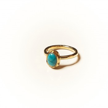 Bague plaqué or Turquoise Classica, bijoux de créateur, vente en ligne, bijouterie