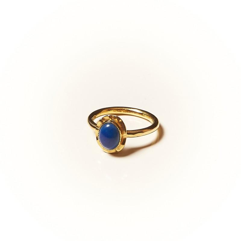 Bague plaqué or Lapis lazuli Classica, bijoux de créateur, vente en ligne, bijouterie