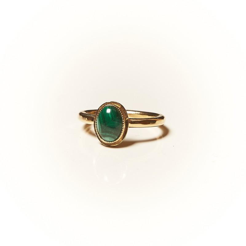 Bague plaqué or Malachite Classica, bijoux de créateur, vente en ligne, bijouterie
