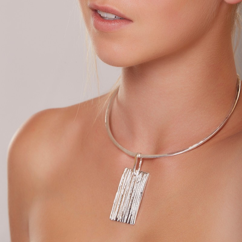 Collier plaqué argent Strie, bijoux de créateur, vente en ligne, bijouterie