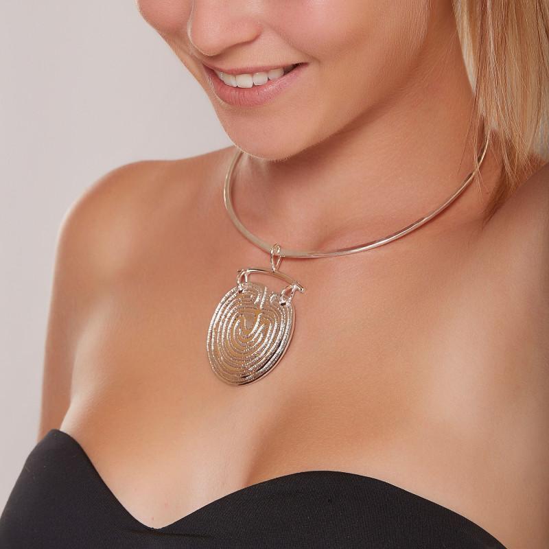 Collier plaqué argent Labyrinthe, bijoux de créateur, vente en ligne, bijouterie