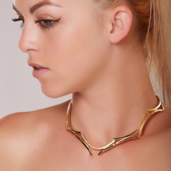 Collier plaqué or Les Lauriers de Venus, bijoux de créateur, vente en ligne, bijouterie