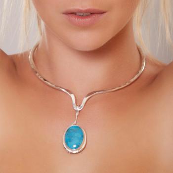 Collier plaqué argent Turquoise, bijoux de créateur, vente en ligne, bijouterie