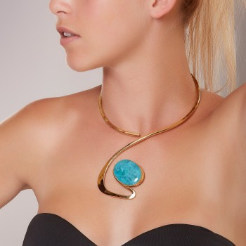 Collier plaqué or Turquoise, bijoux de créateur, vente en ligne, bijouterie, bijou artisanal