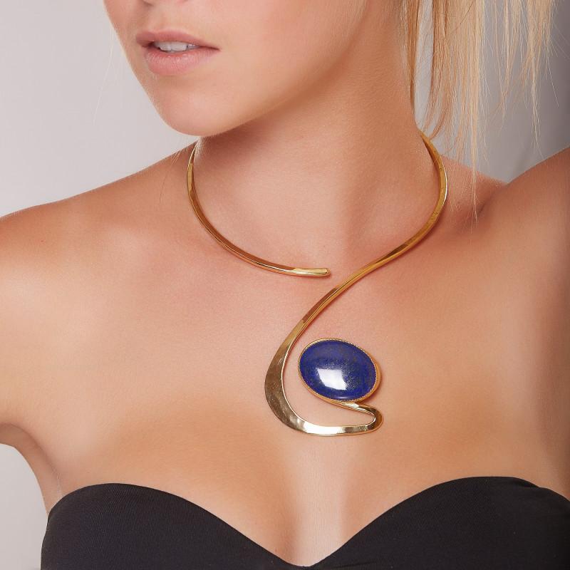Collier plaqué or Lapis lazuli Princesse, bijoux de créateur, vente en ligne, bijouterie, bijou artisanal