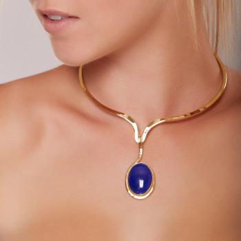 Collier plaqué or Lapis lazuli, bijoux de créateur, vente en ligne, bijouterie, bijou artisanal