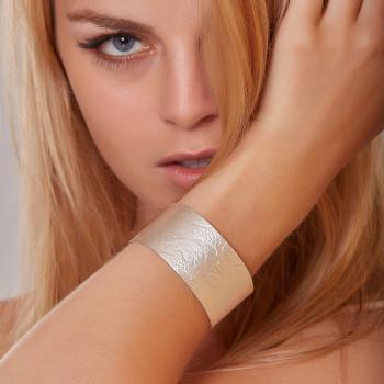 Bracelet plaqué argent Imprimé Cuir, bijoux de créateur, vente en ligne, bijouterie,  bijou artisanal