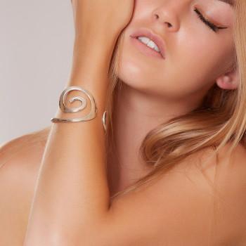 Bracelet plaqué argent Spirale, bijoux de créateur, vente en ligne, bijouterie,  bijou artisanal