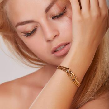 Bracelet plaqué or 3 Fils, bijoux de créateur, vente en ligne, bijouterie, bijou artisanal