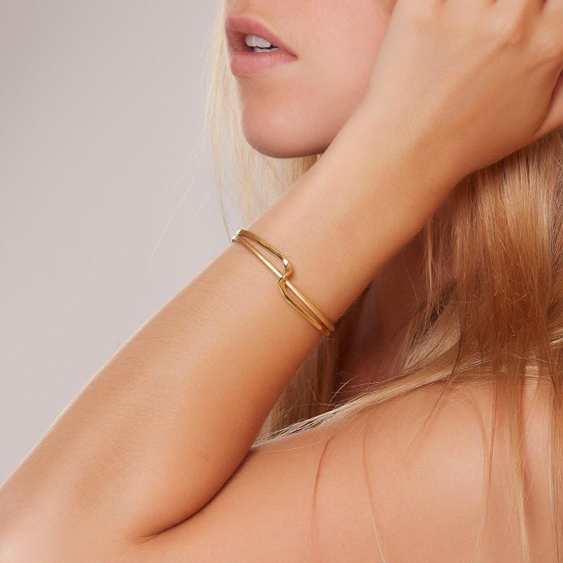 Bracelet plaqué or 2 Fils, bijoux de créateur, vente en ligne, bijouterie, bijou artisanal