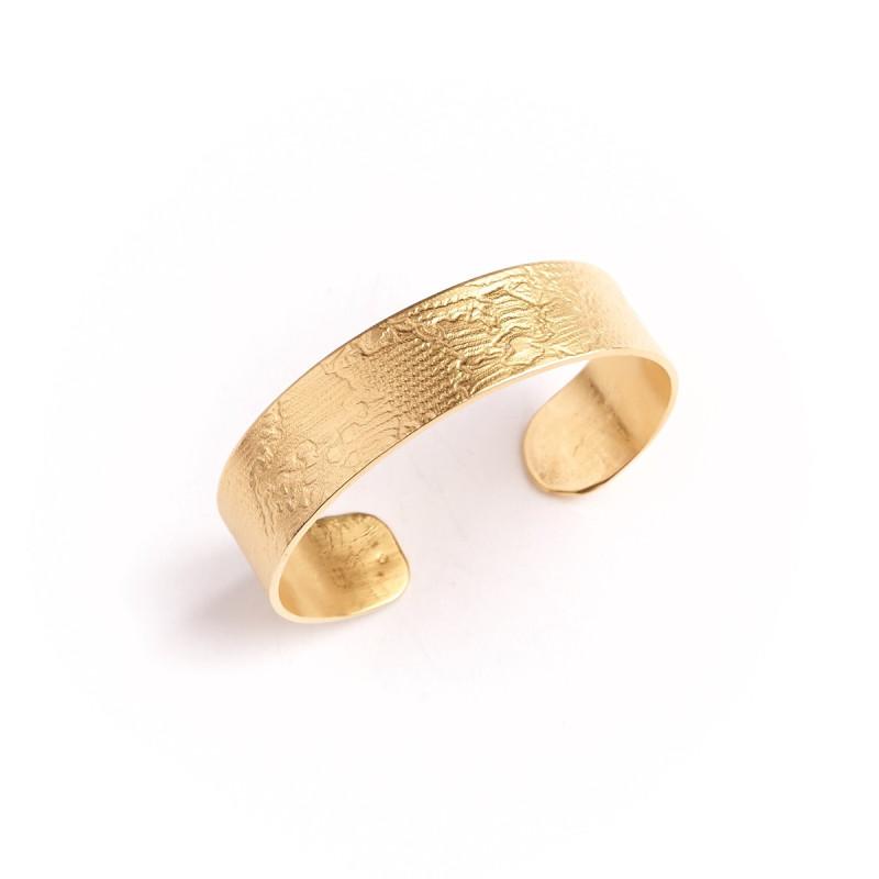 Bracelet plaqué or Imprimé cuir, bijoux de créateur, vente en ligne, bijou artisanal, fabrication française