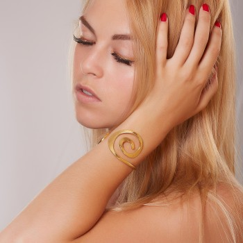Bracelet plaqué or Spirale, bijoux de créateur, vente en ligne, bijou artisanal, fabrication française