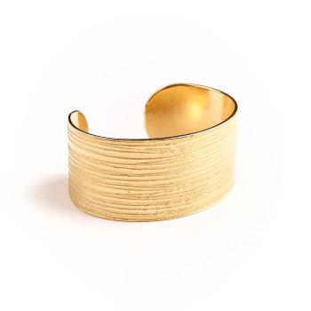 Bracelet plaqué or Strie, bijoux de créateur, vente en ligne, bijou artisanal, fabrication française