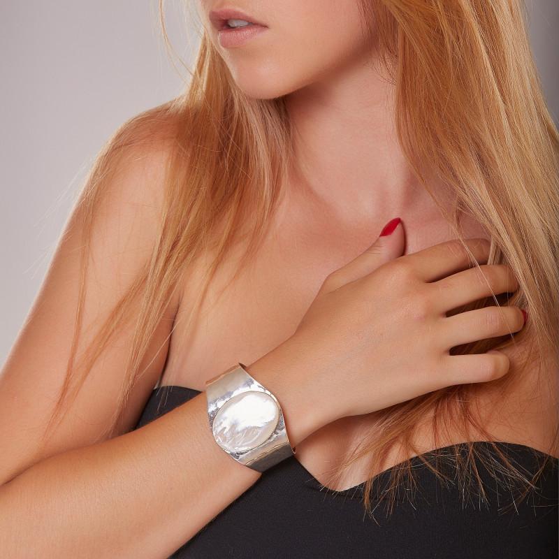 Bracelet argent nacre Eleganza, bijoux de créateur, vente en ligne, bijou artisanal, fabrication française