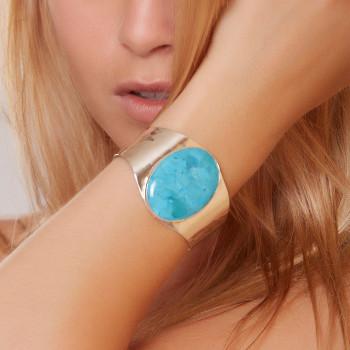 Bracelet plaqué argent turquoise, bijoux de créateur, vente en ligne, bijou artisanal, fabrication française