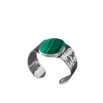 Bracelet plaqué argent malachite, bijoux de créateur, vente en ligne, bijou artisanal, fabrication française