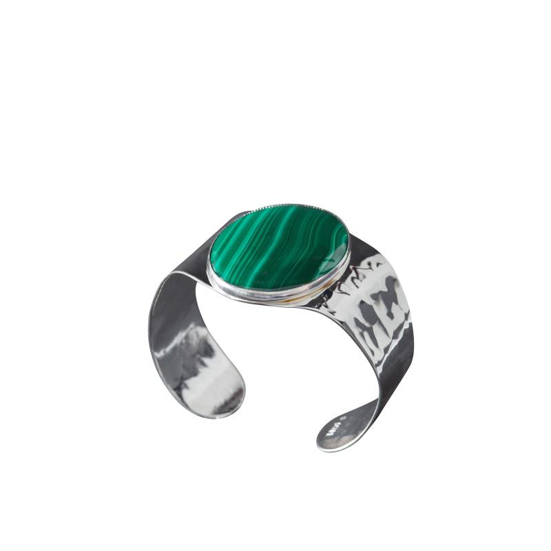 Bracelet argent malachite Eleganza, bijoux de créateur, vente en ligne, bijou artisanal, fabrication française