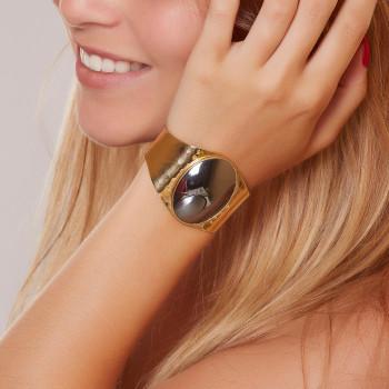 Bracelet plaqué or hématite, bijoux de créateur, vente en ligne, bijou artisanal, fabrication française