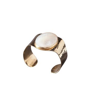 Bracelet plaqué or nacre, bijoux de créateur, vente en ligne, bijou artisanal, fabrication française