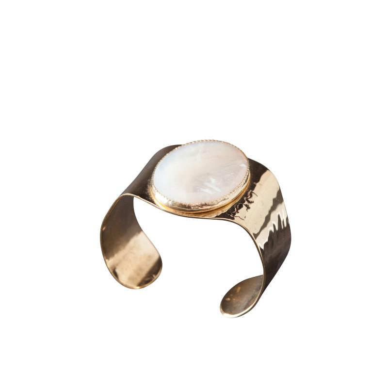 Bracelet plaqué or nacre Eleganza, bijoux de créateur, vente en ligne, bijou artisanal, fabrication française