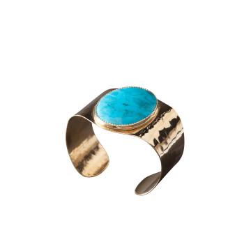 Bracelet plaqué or turquoise, bijoux de créateur, vente en ligne, bijou artisanal, fabrication française