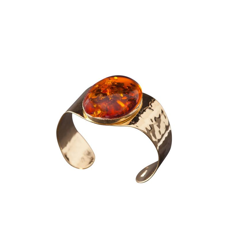 Bracelet plaqué or ambre Eleganza, bijoux de créateur, vente en ligne, bijou artisanal, bijou fabrication française