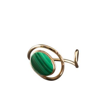Bracelet plaqué or malachite Voluptia, bijoux de créateur, vente en ligne, bijou artisanal, bijou fabrication française