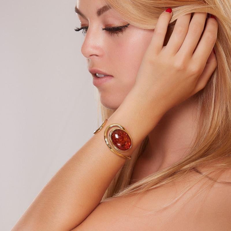 Bracelet plaqué or ambre Voluptia, bijoux de créateur, vente en ligne, bijou artisanal, bijou fabrication française