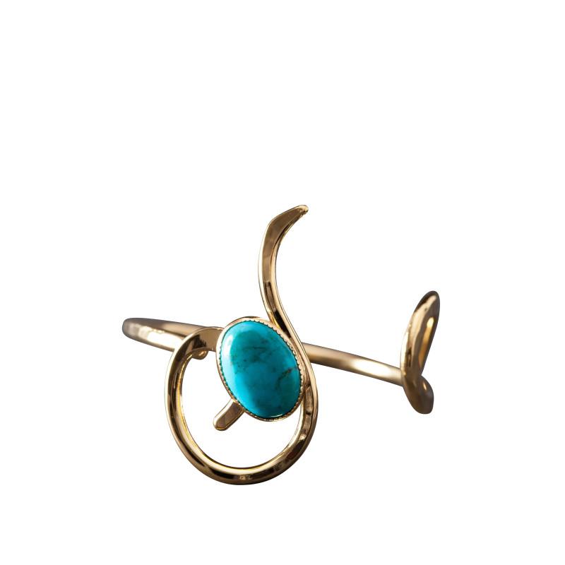 Bracelet plaqué or turquoise Lizae, bijoux de créateur, vente en ligne, bijou artisanal, bijou fabrication française