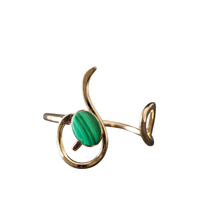 Bracelet plaqué or malachite Lizae, bijoux de créateur, vente en ligne, bijou artisanal, bijou fabrication française