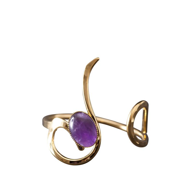 Bracelet plaqué or améthyste Lizae, bijoux de créateur, vente en ligne, bijou artisanal, bijou fabrication française