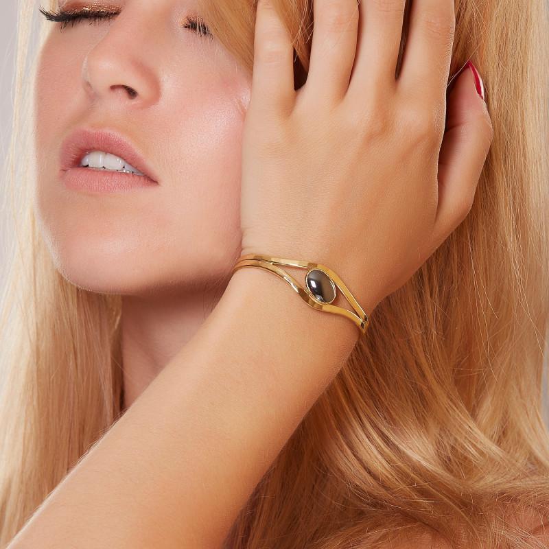 Bracelet plaqué or hématite, bijoux de créateur, vente en ligne, bijou artisanal, bijou fabrication française