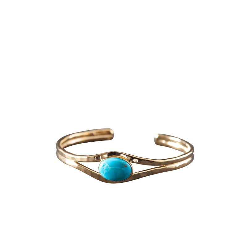 Bracelet plaqué or turquoise Classica, bijoux de créateur, vente en ligne, bijou artisanal, bijou fabrication française